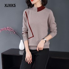 ff8d95d1aa277 XJXKS fall sweaters for women knitted 100% wool half turtleneck jumpers  comfortable woman pullover sweater