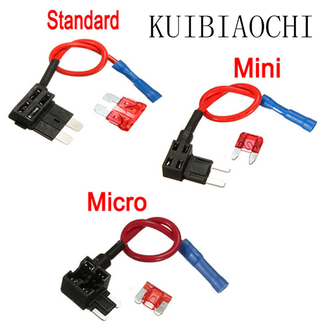 100pcs/lot 12V Fuse Holder Add-a-circuit TAP Adapter Micro/Mini/Standard ATM APM Blade Auto Fuse with Car Fuse with holder