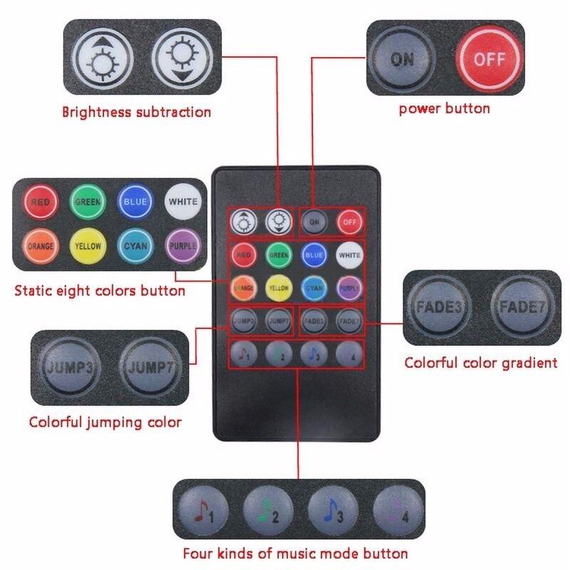 4x DC12V 9 светодиодный RGB Автомобильный интерьер атмосфера Footwell полоса светильник USB зарядное устройство