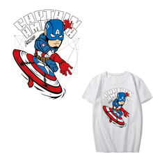 Iron on Cartoon Superhero Patches for Kids Clothing DIY T-shirt Appliques Heat Transfer Vinyl Stickers for Clothes Thermal Press