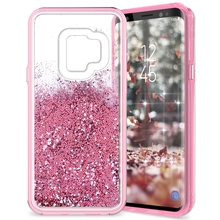 GrandEver 2 in 1 Hard Quicksand Case For Samsung Galaxy S9 Cover Glitter Bling Dynamic Liquid Capa S9plus