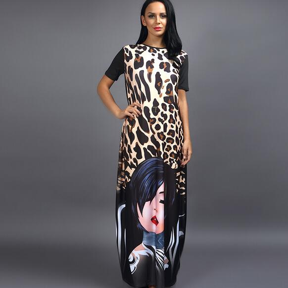 African dresses for women short sleeve leopard print long gown ...