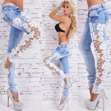 Pantalon Mujer Solid High Sweatpants 2018 Real Wide Leg Pants Women's Sexy Lace, Hollow Lace Jeans, Stretch Pants, New Style.