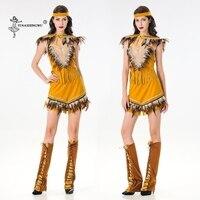 Women lehenga choli Sexy Halloween Cosplay costume Indian Tribal Dance Dress Indians Princess Tassel Indian dress 5 piece set