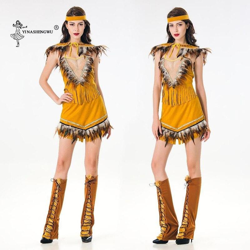 Women lehenga choli Sexy Halloween Cosplay costume Indian Tribal Dance Dress Indians Princess Tassel Indian dress 5-piece set