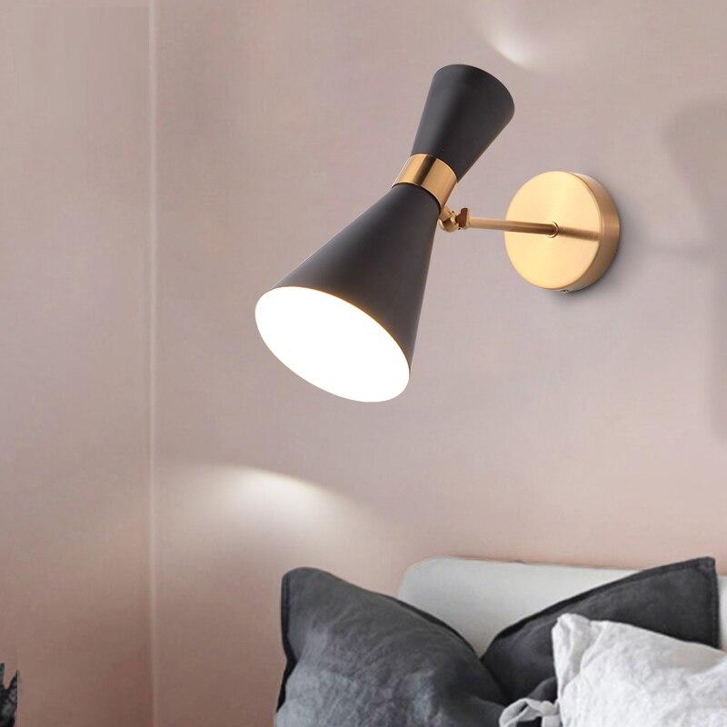 Thrisdar Creative Simple Corne led lampe murale E27 + G4 Moderne Fer Hôtels Escaliers Allée Couloir Chambre De Chevet lampe murale Lampes