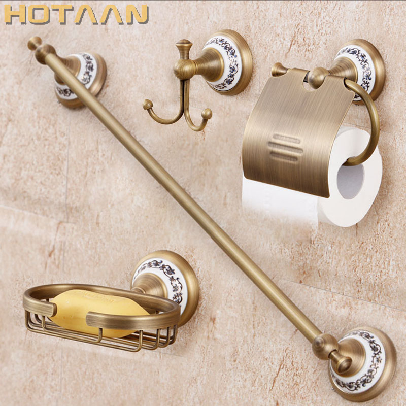 Free shipping,solid brass Bathroom Accessories Set,Robe hook,Paper Holder,Towel Bar,soap basket,bathroom sets,YT-11500-B european style brass black oil brushed solid brass bathroom soap holder ceramic cup soap basket bathroom accessories