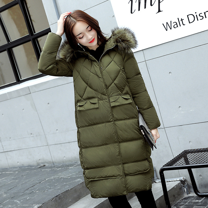2017 New Fashion Long Jacket Slim Thin Overknee Winter Coat Hooded Thick Warm Big Fur Cotton Padded Parkas Female Outwears M-XXL women winter cotton padded jacket warm slim parkas long thick coat with fur ball hooded outercoat female overknee hoodies parkas