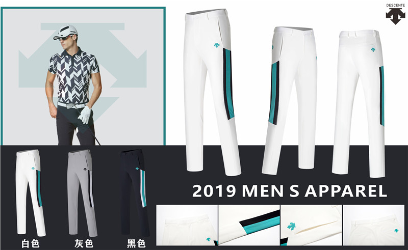2019 new DESCENTE golf men's trousers quick-drying thin golf apparel sports men's trousers casual pants free shipping