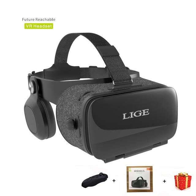 LIGE 6.0 Casque 3 D VR Óculos de Realidade Virtual 3d Óculos Estéreo de Fone de Ouvido do Capacete Para Smartphone Telefone Inteligente Google Papelão