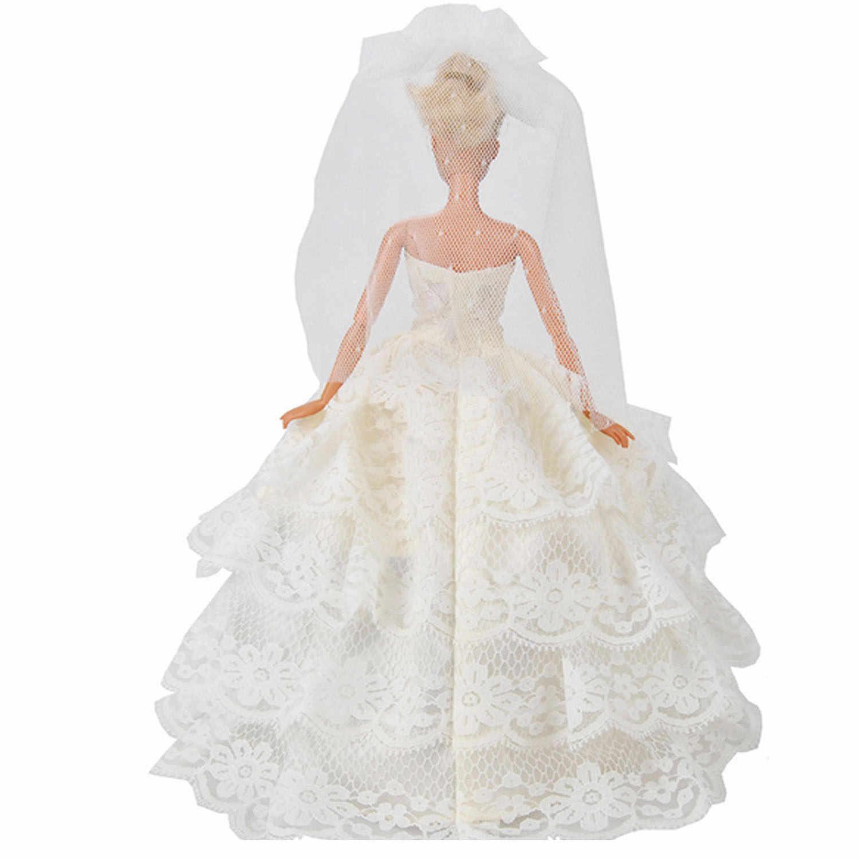 Besegad мини-куколка белые кружева марлевые свадебное платье с вуалью с Кен Для мужчин кукла-украшение костюм Одежда Аксессуары для Барби игрушка