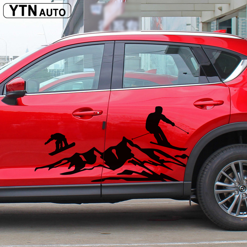 car stickers 2PC side door mountain adventure ski graphic Vinyl car accessories decorate modified decal custom for <font><b>MAZDA</b></font> <font><b>MX</b></font>-<font><b>5</b></font> <font><b>RF</b></font> image