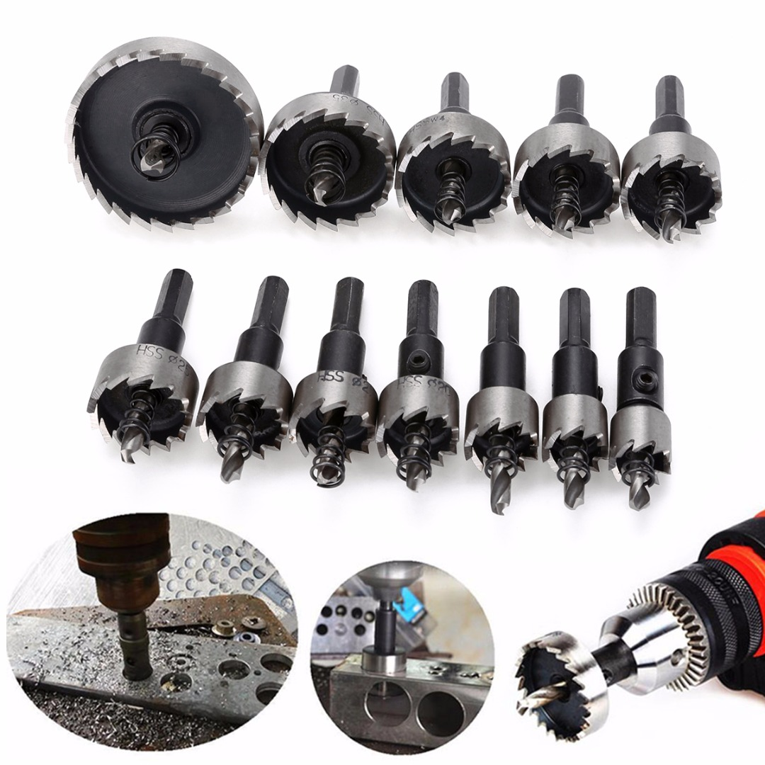 12Pcs Durable Stainless Steel HSS Drill Bit Hole Saw Tooth Set Cutter 15-50mm*65mm for Copper Aluminum Fiberglass Cutting Mayitr stainless steel file binder clips set 12 pcs