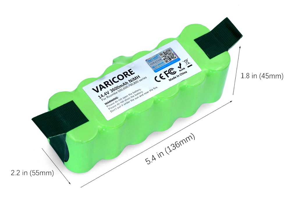 VariCore 14 4V 3600mAh Ni MH Battery for iRobot 500 600 900 Series Vacuum Cleaner for iRobot 600 620 650 700 770 780 800 in Replacement Batteries from Consumer Electronics