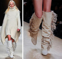 Women Knee High Suede Fringe Boots Black White Gray Platform Wedged Tall Boots New Brand Fashion