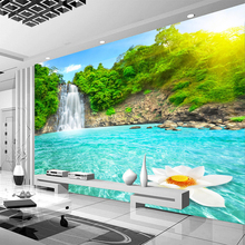 Natural Scenery 3D Wall Mural Forest Waterfalls Pools