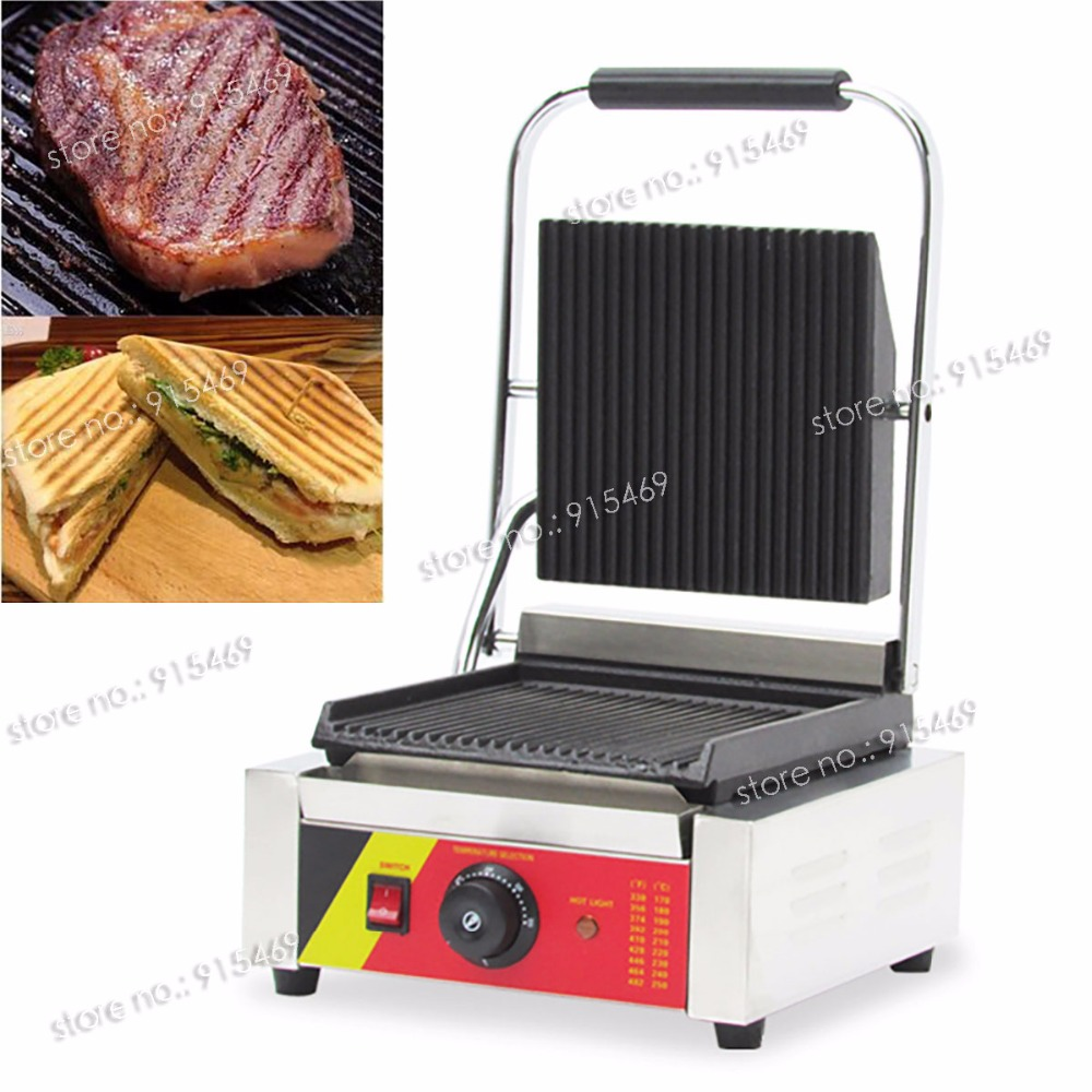 Free Shipping 110V 220V Electric Commercial Contact Grill Panini Sandwich Press Machine free shipping commercial non stick 220v electric sandwich plate panini grill press machine
