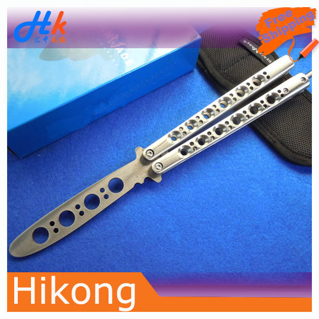 Practice knife Outdoor Mini survival knives Stainless Steel Flail Knife Butterfly Style Training - Soha Home Technology store