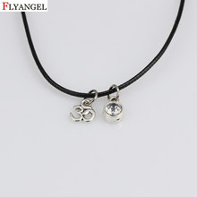 Fashion Choker Necklaces Women Black Velvet Leather Collar Birthstone Necklace Fashion OM Yoga Symbol Jewelry Bijoux(China)