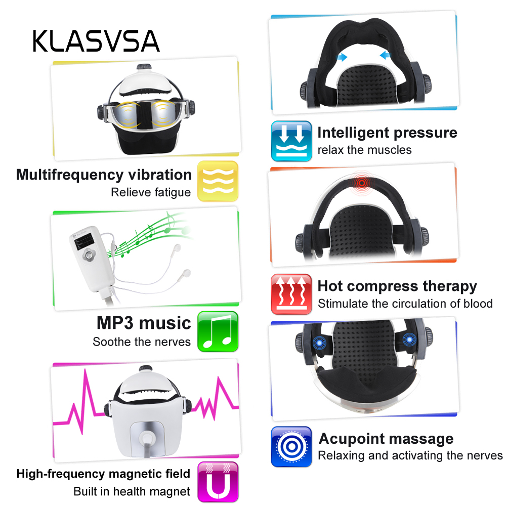 Image 3 - KLASVSA Electric Head Neck Massager Far Infrared Heating Vibration Eye Mask Massage Air Pressure Muscle Stimulator Health Care-in Massage & Relaxation from Beauty & Health