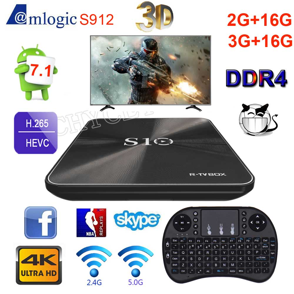 2017 Android TV Box R-TV BOX S10 S912 Octa Core 2G+16G DDR4 3G+16G Android 7.1 4K Smart TV Box BT4.1 HDMI 2.0 3D 10pcs lot new csa90 andriod 5 1 smart tv box octa core rk3368 2g 16g 4k hdmi 2 0 with remotecontrol