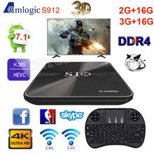2017 Caja de la TV Androide CAJA S10 R-TV S912 Octa Core 2G + 16G DDR4 3G + 16G Android 7.1 4 K Smart TV Box BT4.1 HDMI 2.0 3D