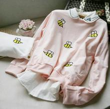 pink coloration Loose bee embroidery lengthy sleeved pullover sweatshirt cotton backing ladies's garments