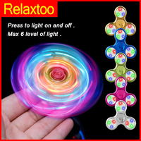LED Spinner Crystal Clear Fidget Hand Spinners Glow Flash Light EDC Tri-spinner Figet Finger Spiner for ADHD Stress Relief Toys