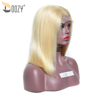 Doozy 250% Density Bob Human Hair Wigs Color 613 Russian Blonde Remy Straight Brazilian Hair Lace Front Wig