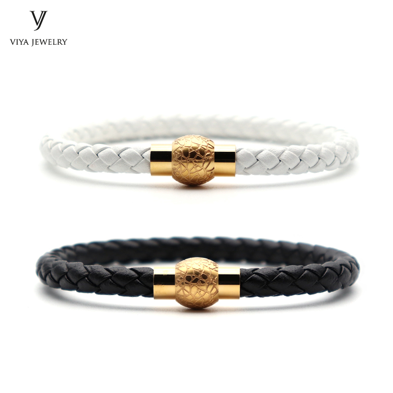 Black&White Cow leather Magnetic Bracelet For Lovers Best Couple Gift Fashion Cow Braided Leather Couple Bracelets Has Gift Box new arrival stingray leather spring clasp couple bracelet charm men stainless steel snap hook bracelets best gift for lovers