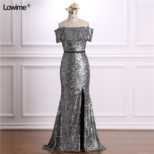 Shining Silver Sequined Material Mermaid vestido de festa Cap Sleeve Zipper Back  Prom Evening Dress 2018 6c0edb3f2a59