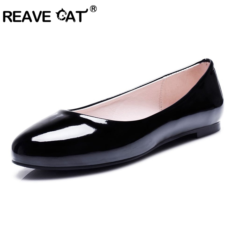 REAVE CAT Fashion Summer Ladies Ballet Flats Shoes Women Loafers Slip On Ballerina Flat Patent Leather Shallow Round Toe RL3142 new round toe slip on women loafers fashion bow patent leather women flat shoes ladies casual flats big size 34 43 women oxfords