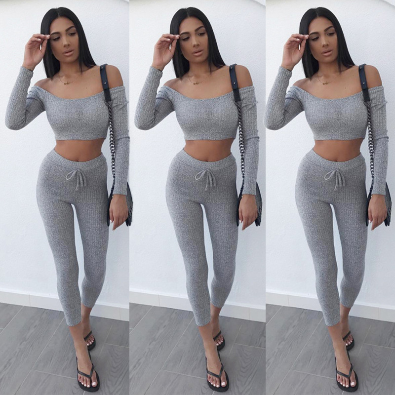 Women 2PCS Tracksuits Casual Set Ladies Knit Crochet Crop Sport Suit Off Shoulder Long Sleeve Solid Tops+ Long Pants