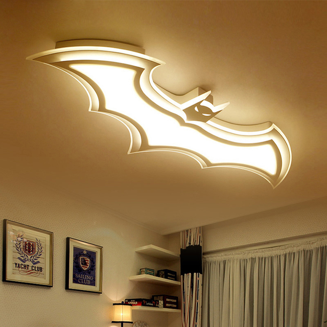 US $133.92 28% OFF Modern batman deco led ceiling lights for bedroom  children room baby room iron cartoon personality creative ceiling lamp  fixture-in ...
