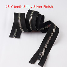 3 Size 6pcs black 5# clothes open end metal zipper shiny silver teeth Auto lock slider O/E Y teeth zipper for garment jacket