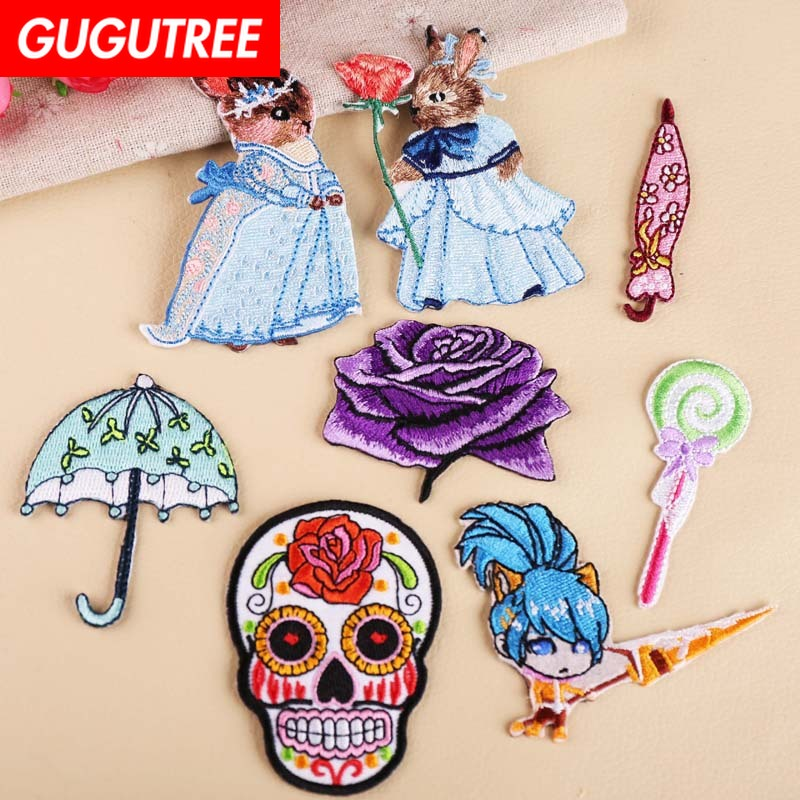 GUGUTREE embroidery skull rabbit rose patches flower umbrella patches badges applique patches for clothing YX-187