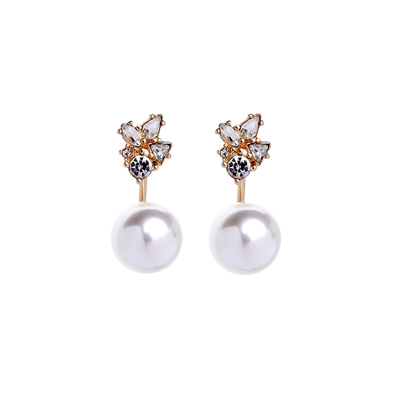 Korea Crystal Simulated Pearl Earring Jackets Ali express New Fashion Wedding Party Earring Jewelry Brincos