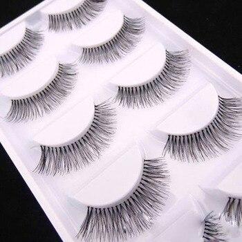 5 Paires Natural Black Long Clairsemée Croix Faux Cils Faux Cils Maquillage Des Yeux Extensions Outils