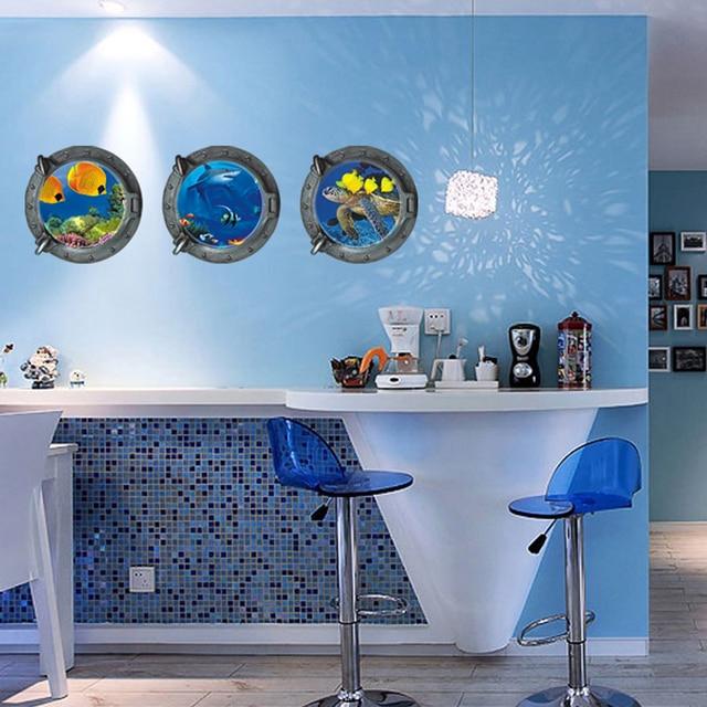 Monde sous marin tortues poissons baleine mur autocollant for Autocollant decoratif maison