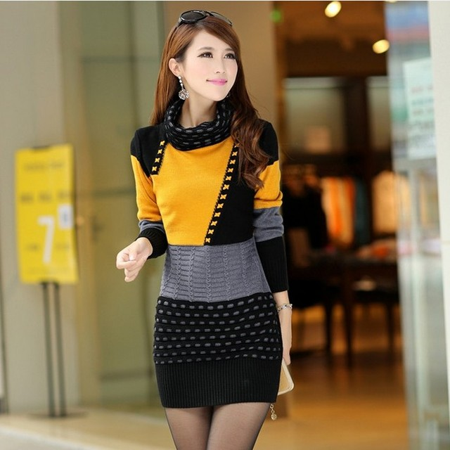 Woman Winter Dress  Knitted Dress Turtleneck Long Sleeve Women Sweater Dress Sweaters and Pullovers Plus Size Women Clothing 3