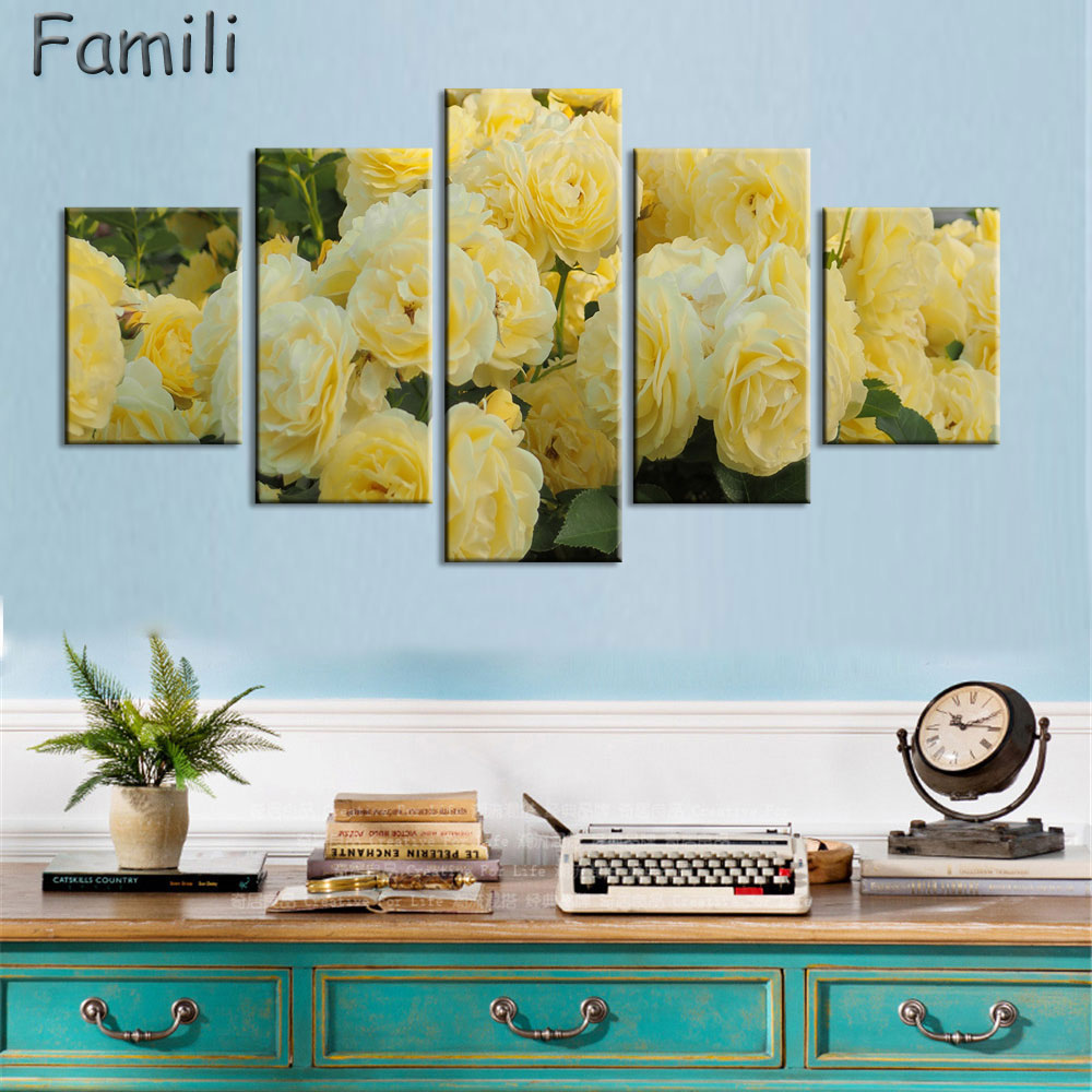 Red Rose Canvas Painting 5 Piece Wall Art Picture for Wall Decor ...