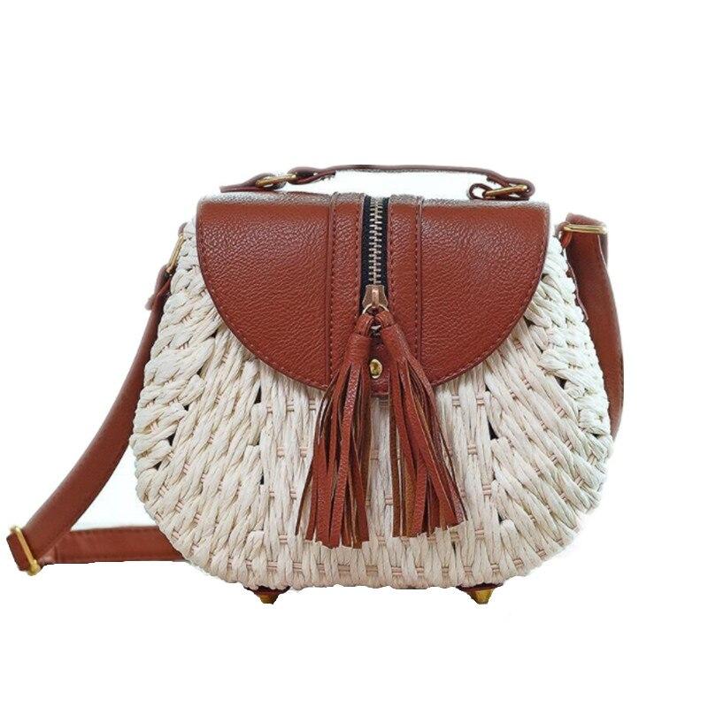 600a7f1888 ARESLAND Handmade Straw Braided Women Messenger Bags Tassel Ladies Female  Crossbody Bag Vintage Style Shoulder Bag Zipper New
