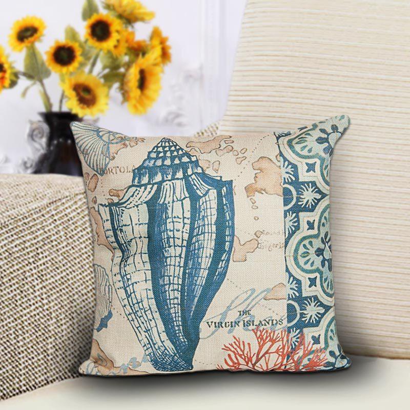 1PC Marine style Blue Sea Helm Printed Cushion Cover Cotton Linen Coral Pillow Cover Decorative Car Chair Pillow Case OU 008