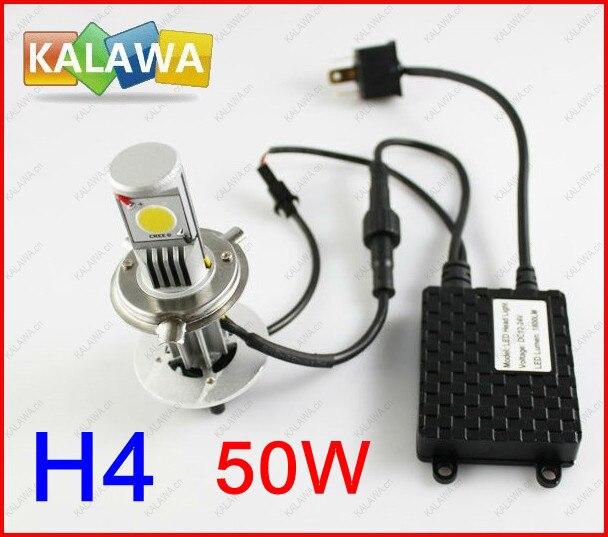 1 Set H4 50W CSL Car headlamp LED light CREE CHIP 6000K Lumens 1600-1800 LED CSL foglight FREESHIPPING TTT highlight h3 12w 600lm 4 smd 7060 led white light car headlamp foglight dc 12v
