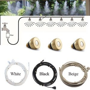 E441 Water Misting Cooling System Kit summer Sprinkler brass Nozzle Outdoor Garden Greenhouse park Plants Spray Hose Watering(China)