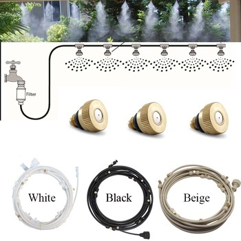 E441 Water Misting Cooling System Kit summer Sprinkler brass Nozzle Outdoor Garden Greenhouse park Plants Spray Hose Watering