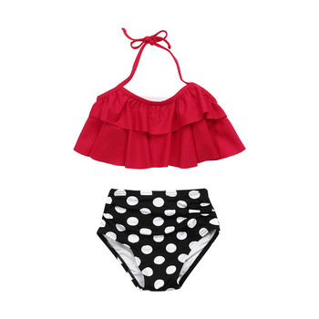 2019 Toddler Baby Girl swimwear Two pieces Set Little Girl 2PCS Ruffle Halter Swimwear Bathing Suit Swimsuit Sets Kids Clothes 1