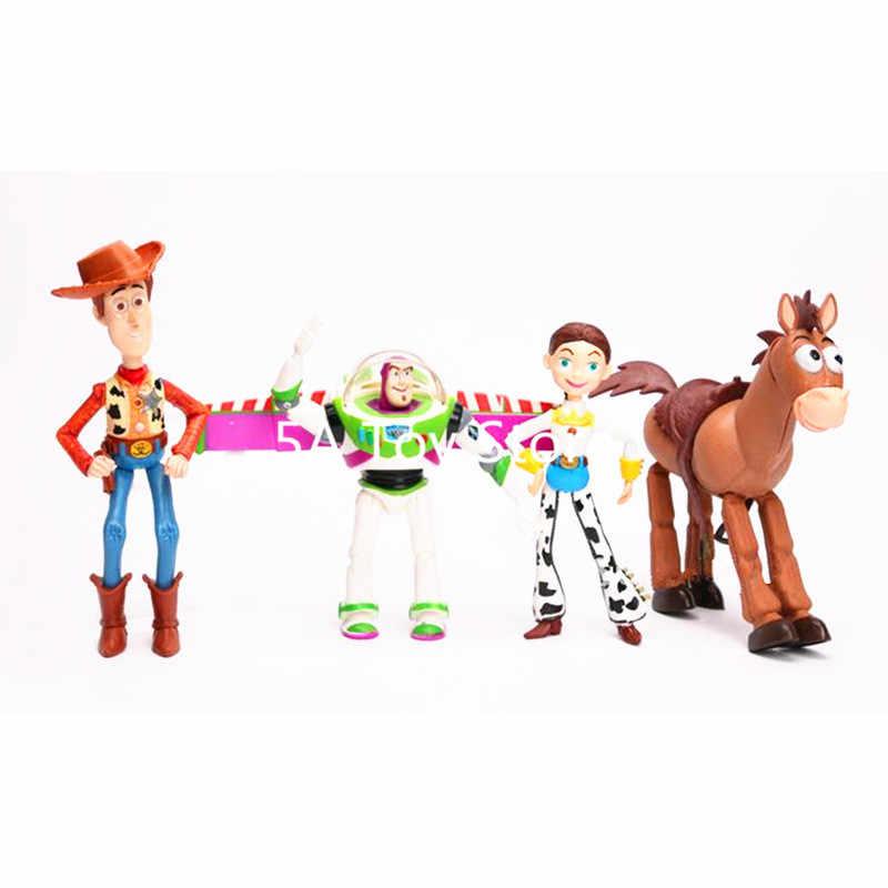 4 pçs/set Anime Toy Story 3 Buzz Lightyear Woody Jessie PVC Action Figure Collectible Modelo Toy Presentes Crianças 12-18 cm
