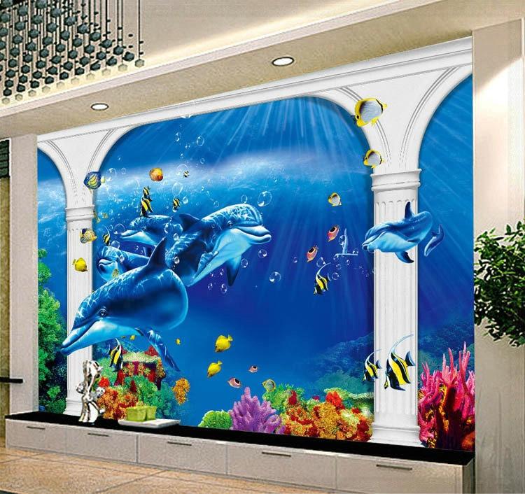 Laut Motif Hewan Rumah Tangga Kontemporer Dinding Mural