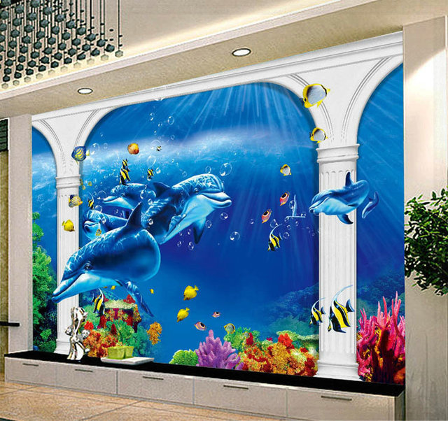 Marine Animal Motifs Contemporary Household Wall Mural Background